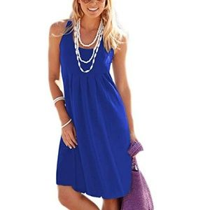 🆕 Royal Blue sleeveless pleated jersey dress